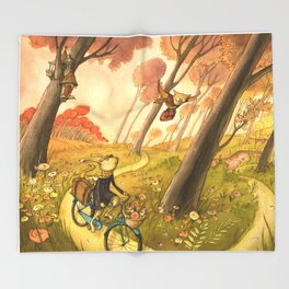 Bike Ride Through The Woods Throw Blanket