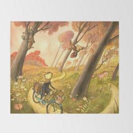 Bike Ride Through The Woods Throw Blanket