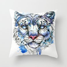 Icy Snow Leopard Throw Pillow