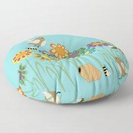 Colorful Gerber Daisy Flower Field Floor Pillow