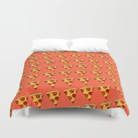 pizza Duvet Covers featuring PIZZA by Kaitlin Smith
