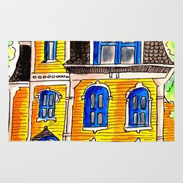 Ink and watercolour Victorian house Rug