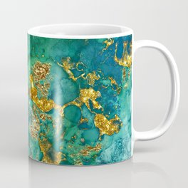 Malachite and Gold Glitter Stone Ink Abstract Gem Glamour Marble Coffee Mug