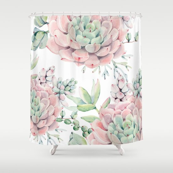 Pink Succulents By Nature Magick Shower Curtain By Nature