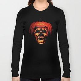 Halloween II Pumpkin Skull Stained Glass Long Sleeve T-shirt