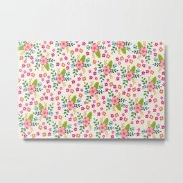 Pink Fuchsia Spring Flower Pattern Metal Print