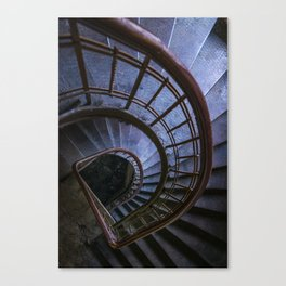 Spiral staircase in blue Canvas Print