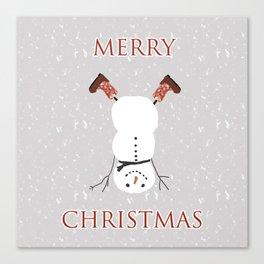 Snowman Yoga - Handstand Canvas Print