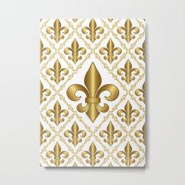 Gold Fleur-de-Lis Pattern Metal Print