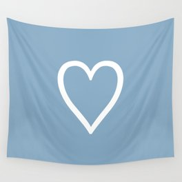 Heart sign on placid blue background Wall Tapestry