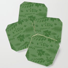 Green eaves on green background Coaster