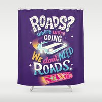 delorean Shower Curtains featuring We Don't Need Roads by Risa Rodil
