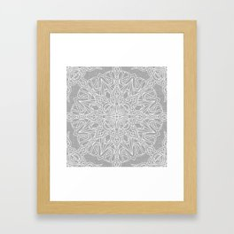 White Mandala on Grey Linen Framed Art Print