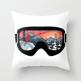 Snow Sport Sunset | Ski and Snowboard Series | DopeyArt Throw Pillow