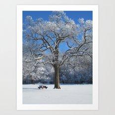 Snowy Picnic Art Print