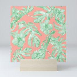 Tropical Palm Leaves Hibiscus Flowers Coral Green Mini Art Print