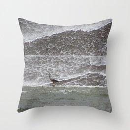 Heron on the Spillway Throw Pillow