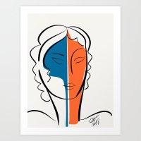 Pop Minimal Portrait in Blue and Orange Art Print