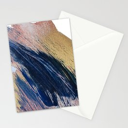 Rise: an abstract mixed-media landscape in blue pink and gold by Alyssa Hamilton Art Stationery Cards