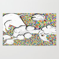 poodle Area & Throw Rugs featuring White Poodle by EloiseArt