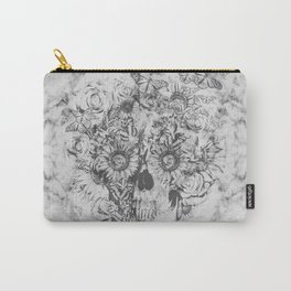 Bookmatched Marble Skull Carry-All Pouch