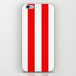 Jumbo Berry Red and White Rustic Vertical Cabana Stripes iPhone Skin