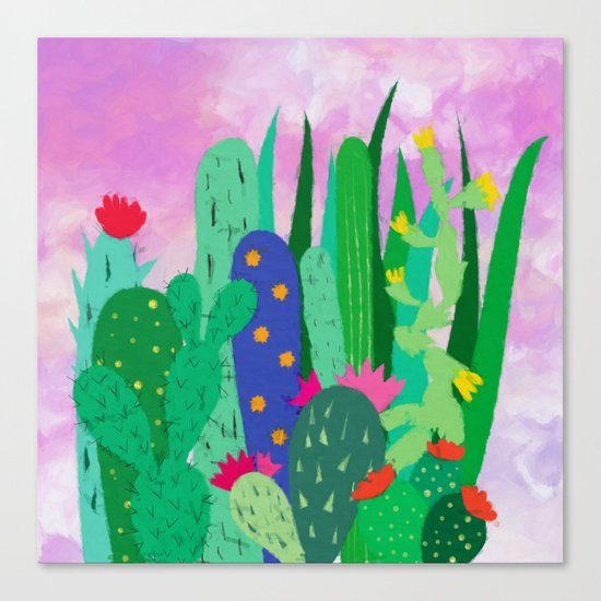 Painted cacti Canvas Print