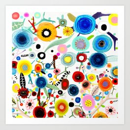 Rupydetequila whimsical floral art 2018 Art Print