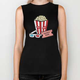 Movie Pattern in Dark Blue Biker Tank