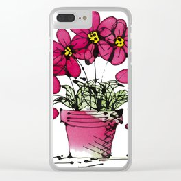 Seven Flowers (Pink): gorgeously simple original art, vibrant flowers in a pot Clear iPhone Case