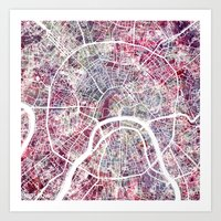 moscow Art Prints featuring Moscow by MapMapMaps.Watercolors
