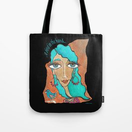A Bird in the Hand (on black) Tote Bag