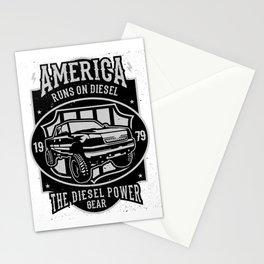 America Runs On Diesel Stationery Cards