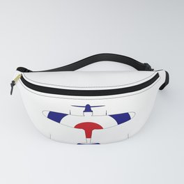 World War 2 Fighter Red White Blue Silhouette Fanny Pack
