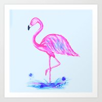 Painted Flamingo Art Print