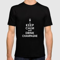 Keep Calm and Drink Champagne Mens Fitted Tee Black MEDIUM