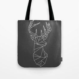 Greometric Stag (White on Grey) Tote Bag