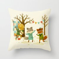 dancing Throw Pillows featuring Critters: Spring Dancing by Teagan White