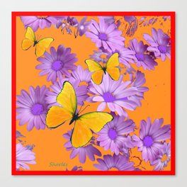 Red-Orange Yellow Butterflies Lilac Color Purple Daisies Canvas Print