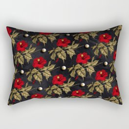Red and Gold Hibiscus with Pearls Pattern Rectangular Pillow