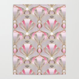 Rose Pink, Grey and Gold Art Deco Poster