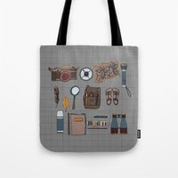 kit king Tote Bags featuring Explorers kit by Laura Barnes