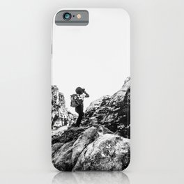 Boys Adventure | Rustic Camping Kid Red Rocks Climbing Explorer Black and White Nursery Photograph iPhone Case