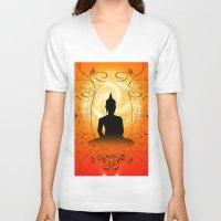 buddha V-neck T-shirts featuring Buddha  by nicky2342