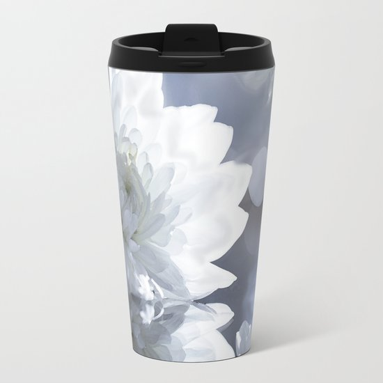 White flower with bokeh on a grey background included wonderful light Metal Travel Mug