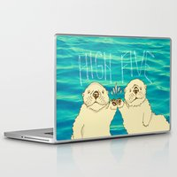 otters Laptop & iPad Skins featuring High Five / Sea Otters by Alissa Thiele