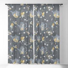 Cute Teapot & Floral Pattern Sheer Curtain