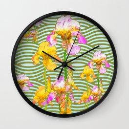 White-Pink  yellow Iris Wave Art Wall Clock