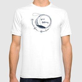 Gone fishing- illustration on marine blue T-shirt