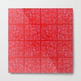 mess Pattern Red & Pink Metal Print
